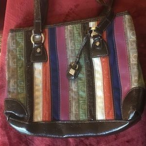 Liz Claiborne multicolored striped pocketbook